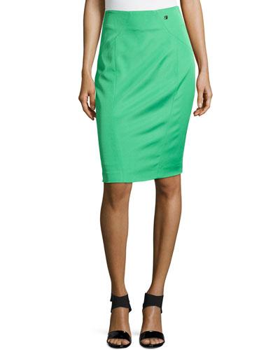 Knee-Length Pencil Skirt, Grass Green
