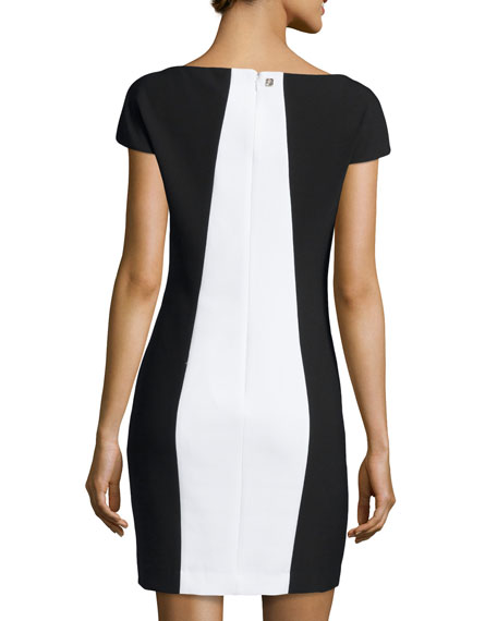 Cap-Sleeve Printed Shift Dress
