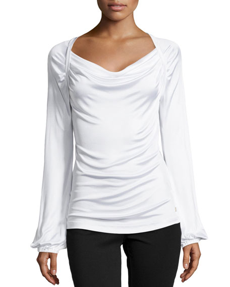 Versace Long-Sleeve Draped-Neck Blouse, White
