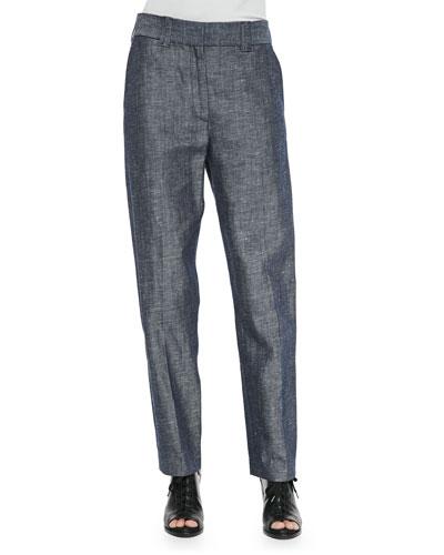 Claud Straight-Leg Shantung Trousers