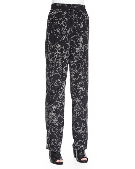 Rag & Bone Harvey Floral-Print Silk Pants