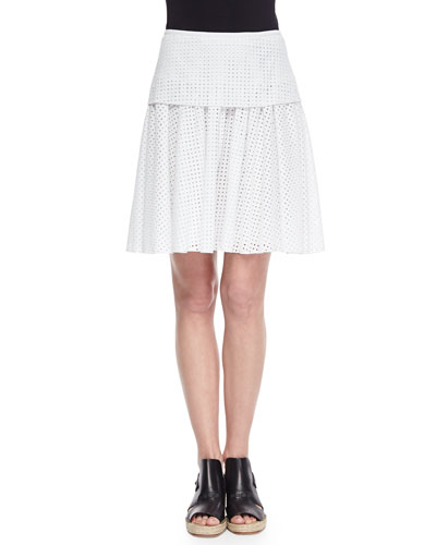 Lakewood Netted Pleated A-Line Skirt
