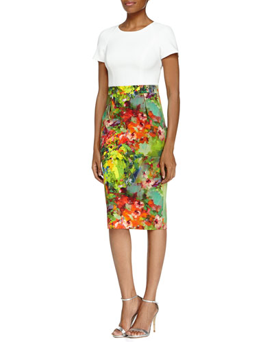 Makenna Short-Sleeve Floral-Skirt Sheath Dress