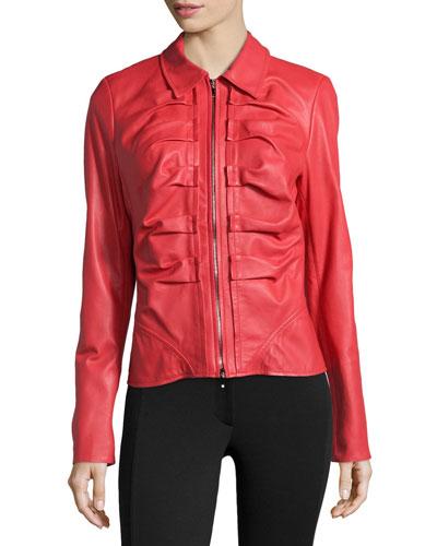 Escada Short Leather Zip Jacket, Lacquer