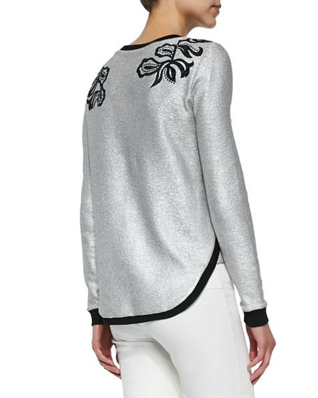 Veronica Beard Metallic Woven Floral-Embroidered Sweatshirt