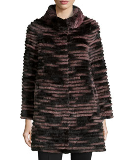 Ribbed Fur Coat, Purple