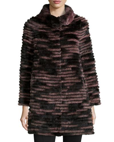 Ribbed Fur Coat, Purple