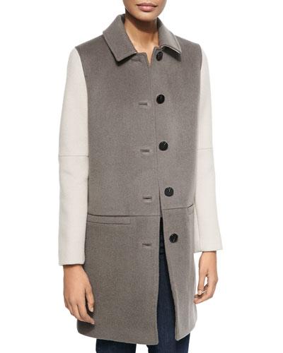 Billy Shirt-Collar Colorblock Coat