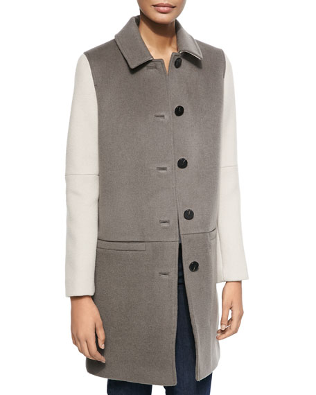 Dawn Levy Billy Shirt-Collar Colorblock Coat