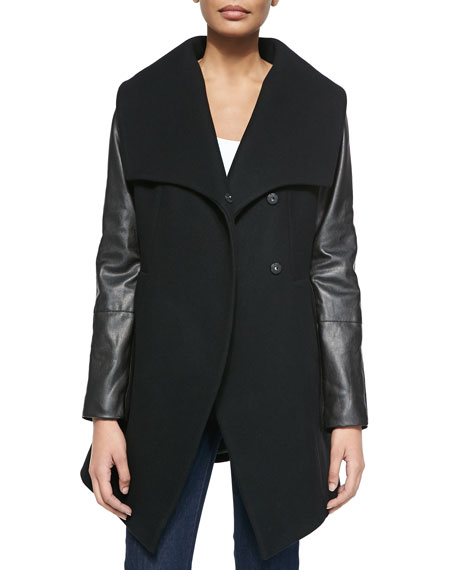 Cece Wool Coat with Faux-Leather Sleeves