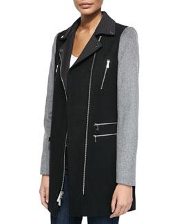 Notched-Collar Moto Coat