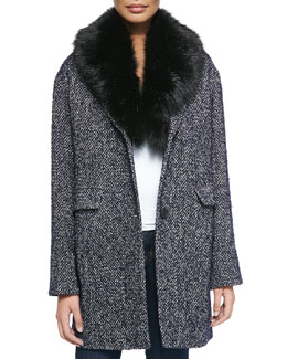 Kaba Tweed Coat W/ Removable Faux-Fur Trim