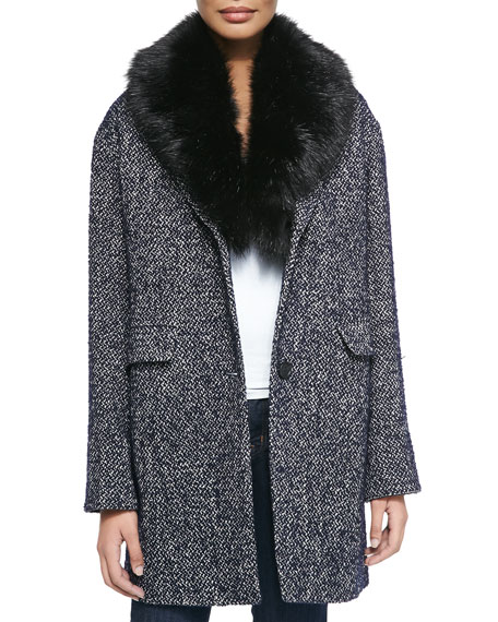 Dawn Levy 2 Kaba Tweed Coat W/ Removable