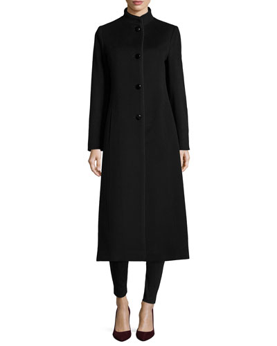 Long Stand-Collar Coat with Satin Trim