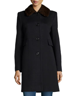 Fur-Collar City Coat, Black