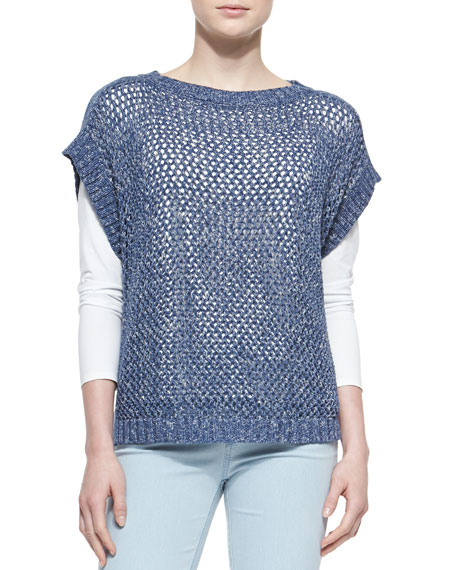 Lafayette 148 New York Short-Sleeve Net-Stitch Sweater