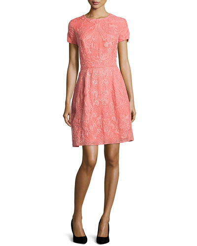 Short-Sleeve Embroidered Dress, Coral