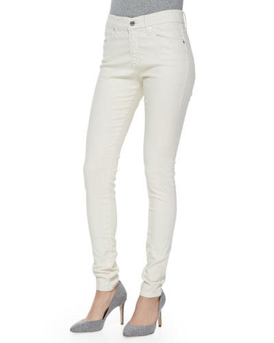 Farrah High-Rise Leatherette Jeans, Meadow Light