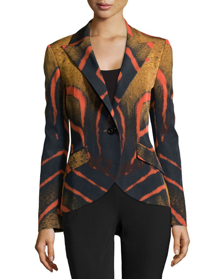 Printed One-Button Cutaway Blazer