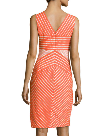 Sleeveless Cocktail Dress with Mesh Accents