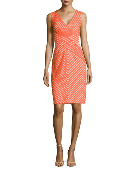 Tadashi Shoji Sleeveless Cocktail Dress with Mesh Accents