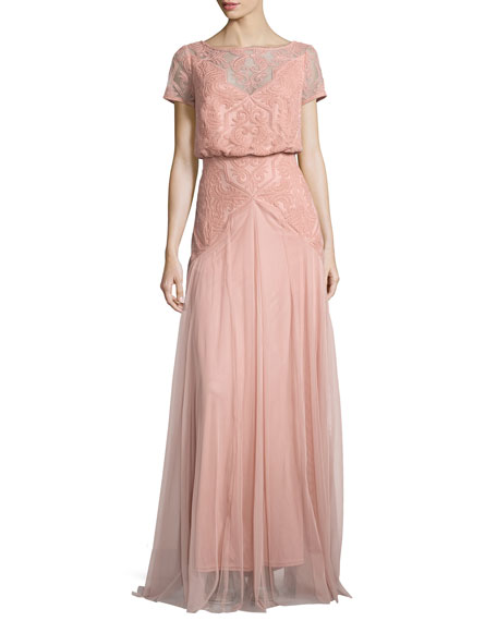 Popover Lace & Tulle Grecian Gown