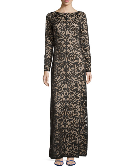 Long-Sleeve Boat-Neck Lace Gown