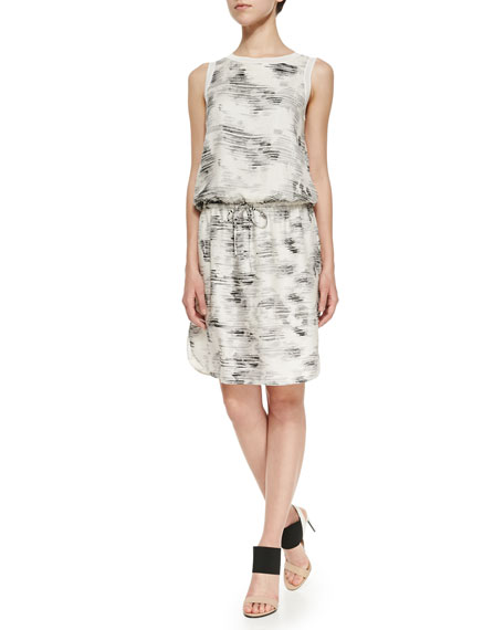 Vince Sleeveless Marble-Print Dress