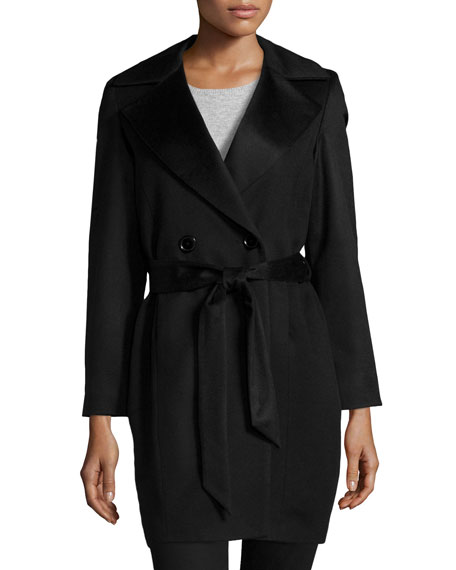 Double-Breasted Belted Cashmere Wrap Coat, Black