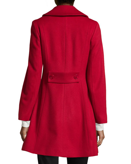Sofia Cashmere Double-Breasted Princess Coat Red