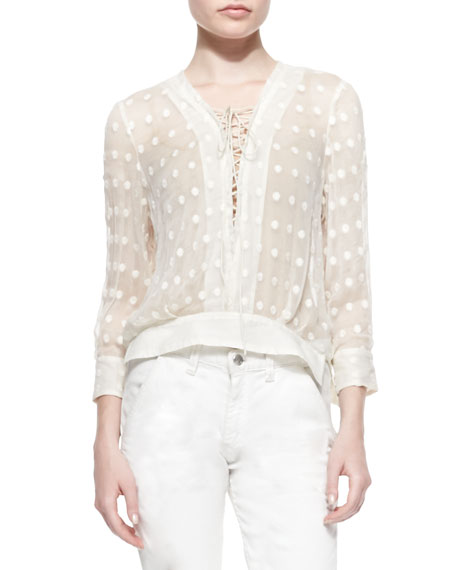 Oltane Sheer Dotted Lace-Up Top