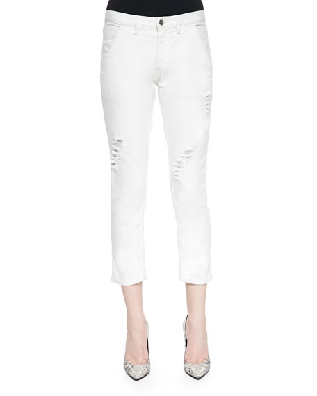 IRO Nariane Mid-Rise Distressed Jeans, Sand White