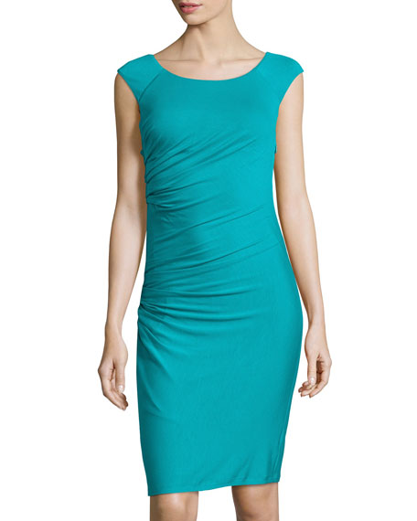 Abito Donna Sleeveless Ruched Jersey Dress, Turquoise