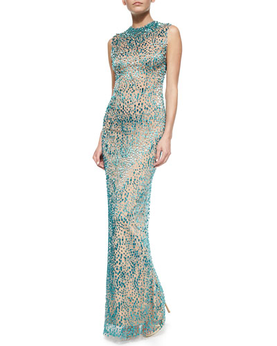 Allover Bejeweled Column Gown