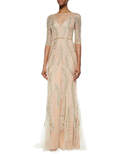 Fern-Sequined Tulle Gown