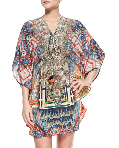 Short Lace-Up Printed Caftan