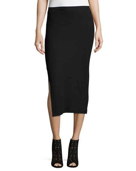 ATM Side-Slit Knit Tube Skirt