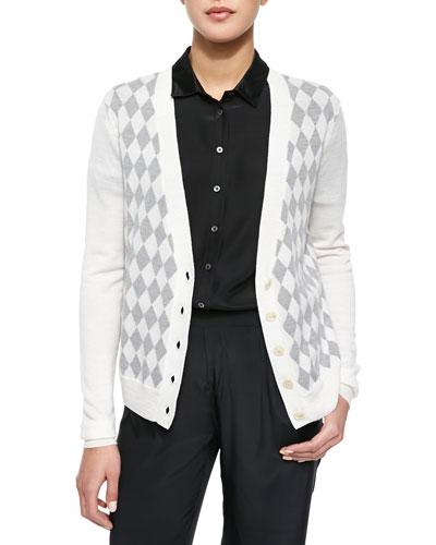 Knit Argyle Cardigan Sweater, Chalk/Heather Gray
