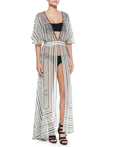 Open-Front Printed Chiffon Coverup