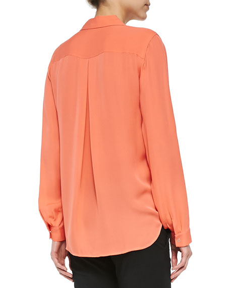 Long-Sleeve Two-Pocket Silk Blouse, Carrot