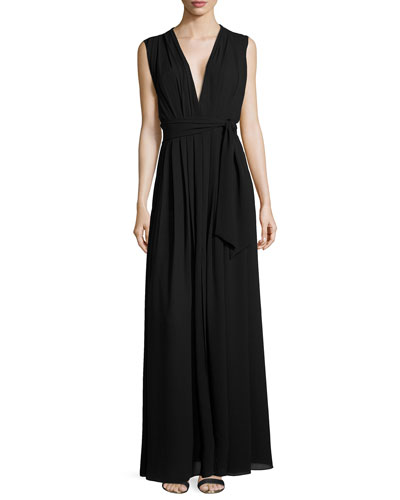 Deep V-Neck Pleated Maxi Dress