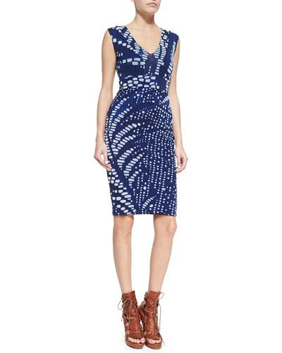 V-Neck Digital-Print Sheath Dress