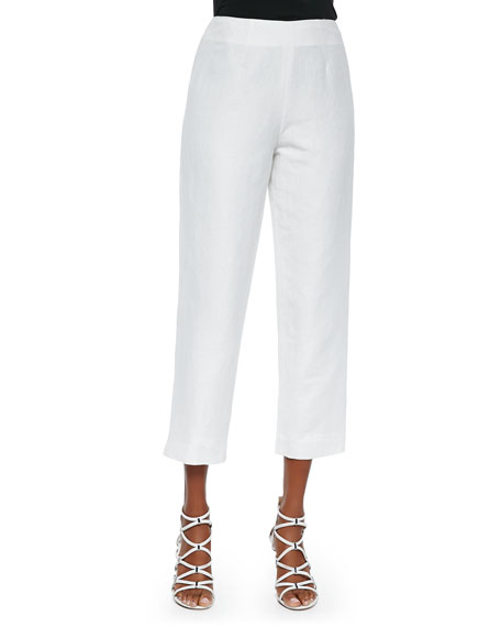 NM EXCLUSIVE Lined Linen-Blend Cropped Pants, White