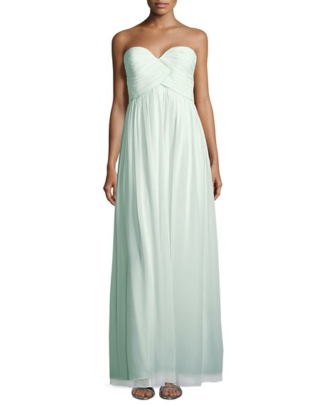 Laura Strapless Ruched-Bodice Gown, Beach Glass