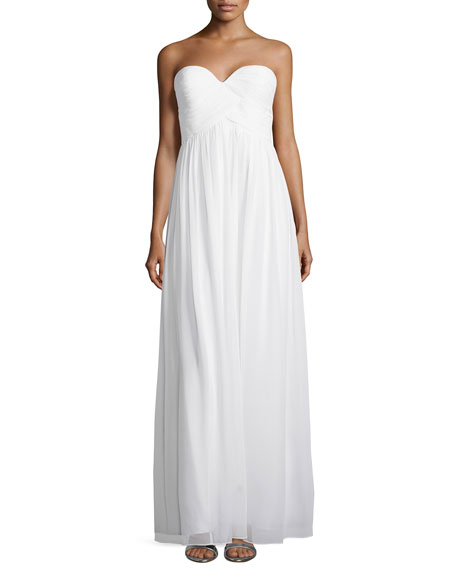 Donna Morgan Strapless Ruched-Bodice Gown, White Lily