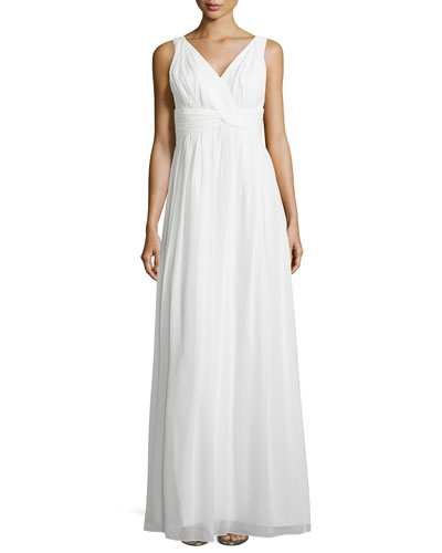 Sleeveless Empire-Waist Gown, White Lily