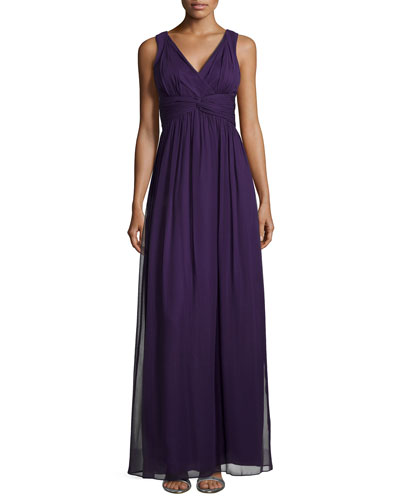 Sleeveless Empire-Waist Gown, Amethyst