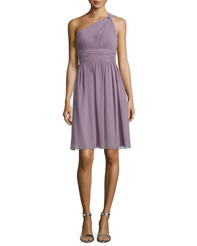 One-Shoulder Chiffon Cocktail Dress, Gray Ridge