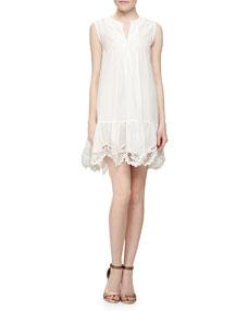 Thakoon Addition Crochet-Hem Voile Pullover Dress