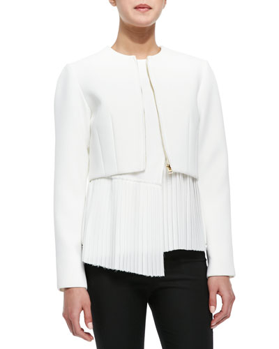 Woven Cropped-Front Zip Jacket